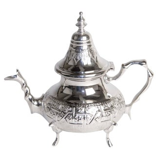 Moroccan Silver Plated Teapot For Sale