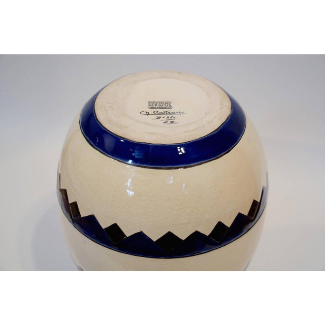 Rare Cobalt and Cream Charles Catteau Vase For Sale In Los Angeles - Image 6 of 8