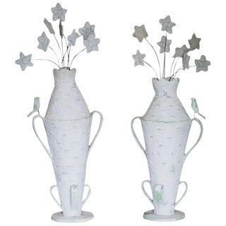 Pair of Monumental Cantral Valdez Urns With Flowers, 1950s For Sale