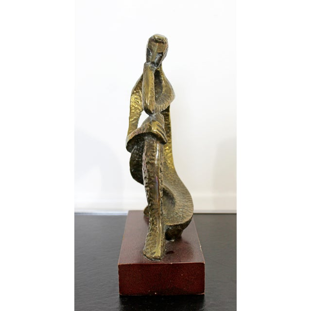 Metal Mid Century Modern Bronze Table Sculpture of Curved Brutalist Figure For Sale - Image 7 of 9