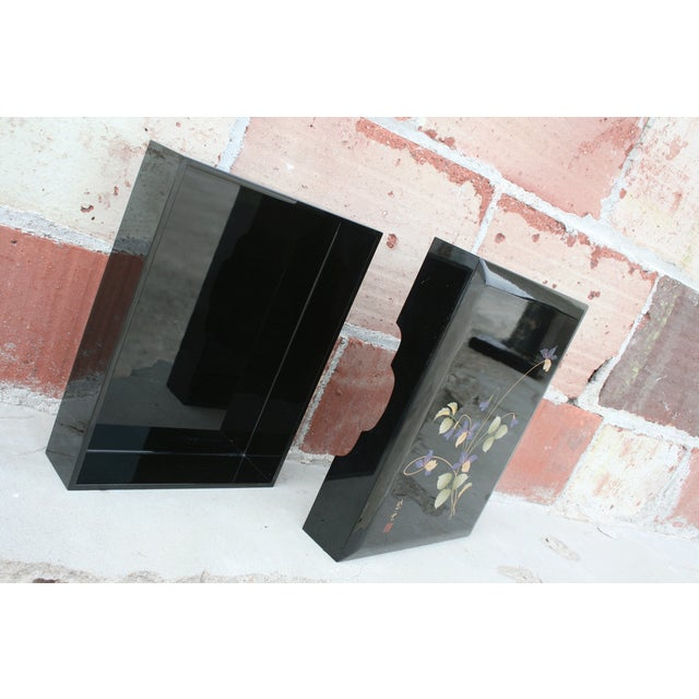 Asian Black Lacquer Stationery Box - Image 7 of 9