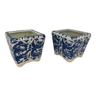 Chinese Miniature Blue & White Porcelain Cachepots With Phenix Decor, A-Pair For Sale