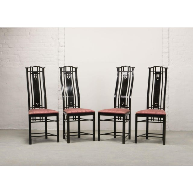 Giorgetti Mid-Century Italian Design Black Lacquered and Pink Fabric Dining Chairs by Giorgetti, 1970s - 1980s. For Sale - Image 4 of 13