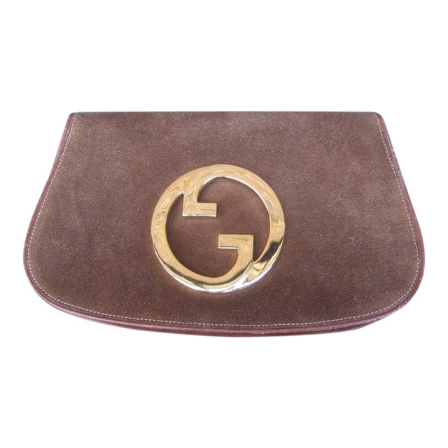 1970s Gucci Italy Chocolate Brown Suede Blondie Clutch Purse For Sale