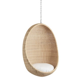 Nanna Ditzel Exterior Hanging Egg Chair - Natural - Tempotest White Canvas Cushion with 5 Foot Chain For Sale