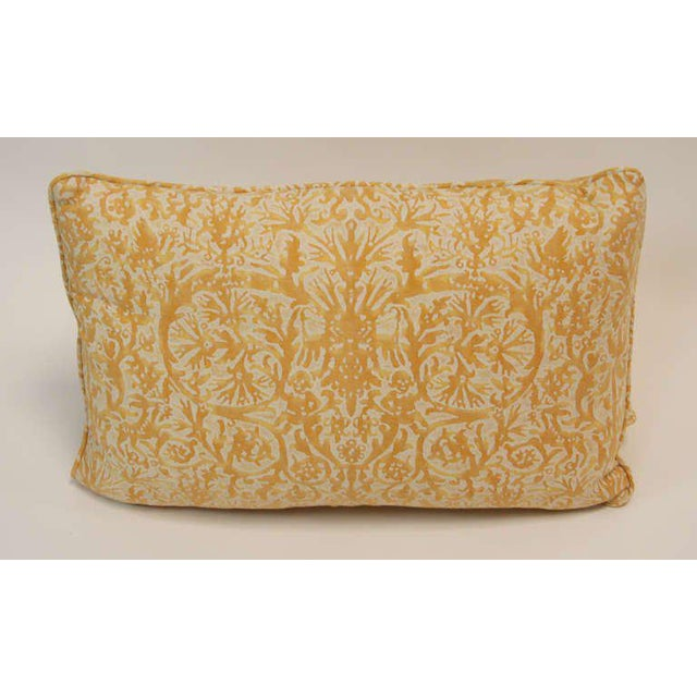 "Pillows in multiple sizes made from 1970's vintage Fortuny Pergolesi in yellow on white texture. Sizes of 24"" x 16"" and..."