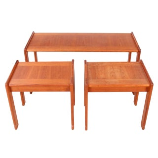 1960s Vintage Svend Aage Madsen Danish Modern Teak Cocktail and Nesting Tables- Set of 3 For Sale