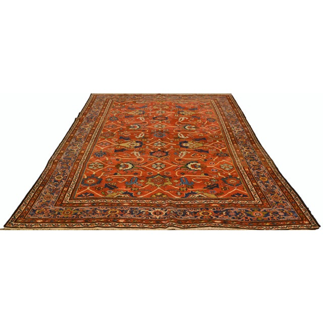Vintage Persian hand knotted Mahal rug with natural colors and great design.