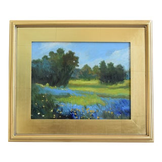 Lush Landscape & Meadow in Bloom Oil Painting W/ Gold Leaf Frame