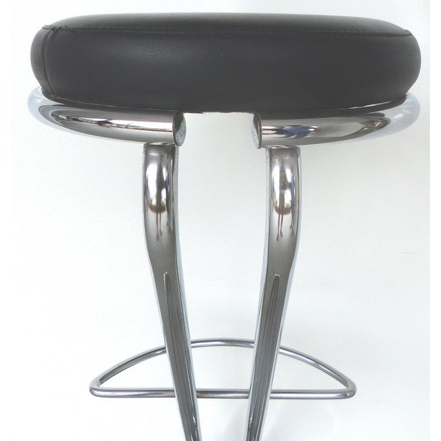 Italian Mid-Century Modern Chrome Bar Stools - a Pair For Sale In Miami - Image 6 of 9