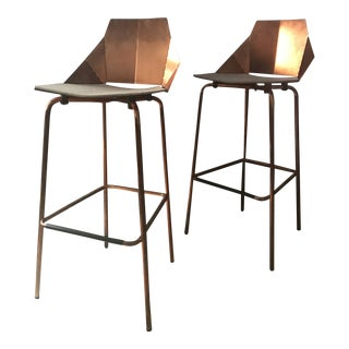 Contemporary Blu Dot Modern Copper Stools - a Pair