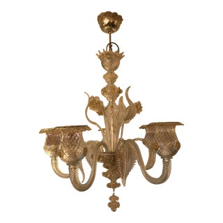 Murano Art Glass, 5 Light Chandelier, W/ 24k Gold Embellished For Sale