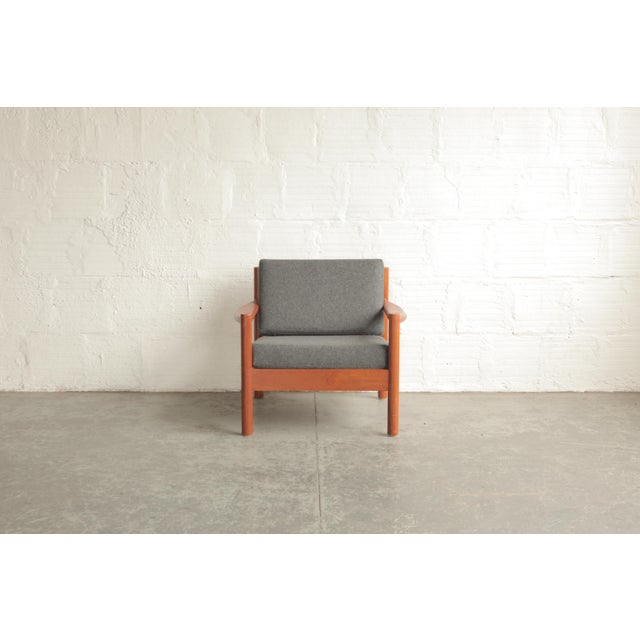 Wood Vintage Mid Century Grey Lounge Chair For Sale - Image 7 of 7