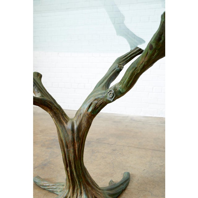 Metal French Bronze Faux Bois Tree Sculpture Dining Table For Sale - Image 7 of 13