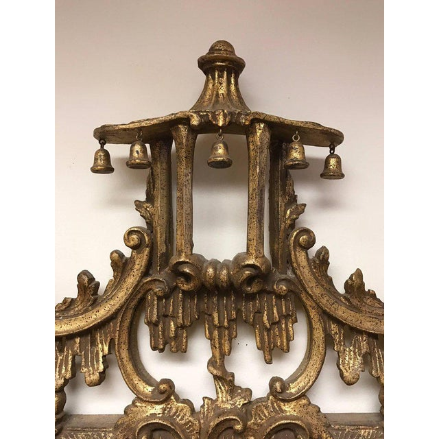 Asian Carved Chinese Chippendale Gold Giltwood Large Pagoda Mirror Made in Italy For Sale - Image 3 of 7