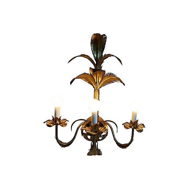 Metal 1950s Italian Palm Topiary Wall Light For Sale - Image 7 of 9