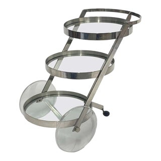 Stylish Sleek Stainless Steel, Glass, and Lucite Wheel Bar Trolley Cart For Sale