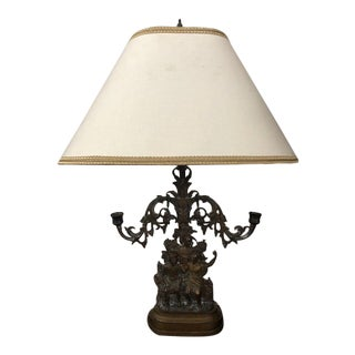 Late 19th Century French Figural Candelabra Converted to Table Lamp With Custom Shade For Sale