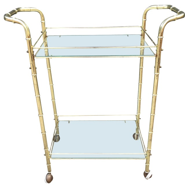 Brass Bar Cart with Bamboo Motif - Image 1 of 5