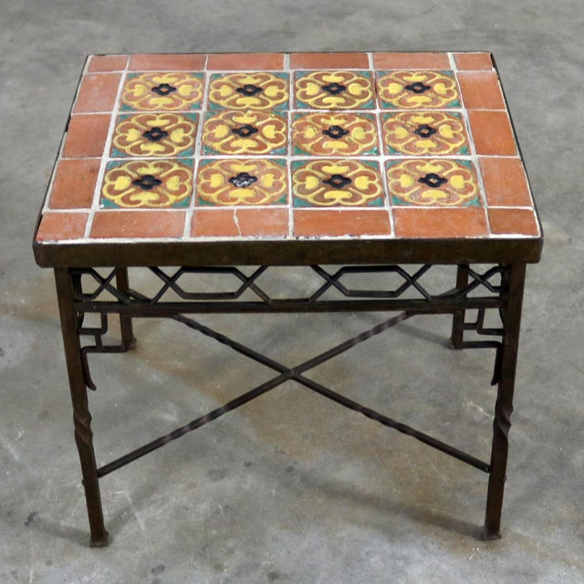 Art Deco Wrought Iron and Tile Side Table California Style Tiles For Sale - Image 11 of 11