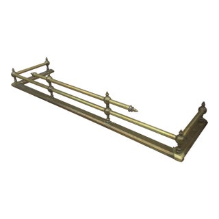 Vintage Heavy Brass Fireplace Fender For Sale
