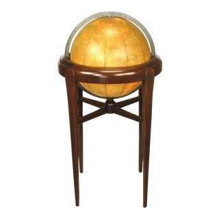 Replogle Illuminated Glass Globe on Mahogany Articulated Stand, Circa 1940s For Sale