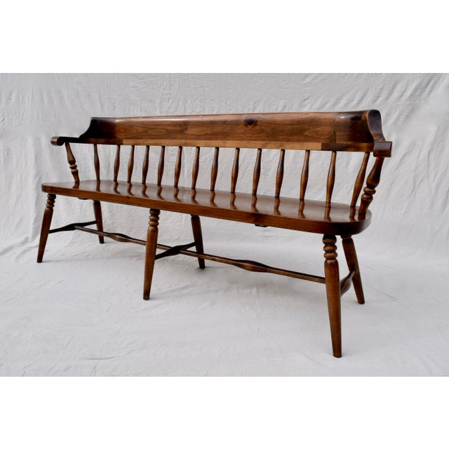 Farmhouse Pine Spindle Back Bench For Sale - Image 4 of 10