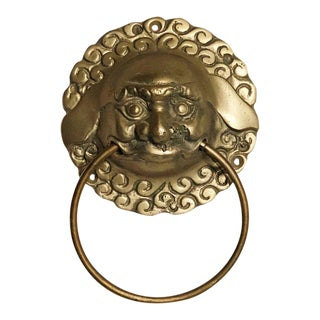 Vintage Mid Century Brass Foo Dog Door Knocker or Towel Ring For Sale