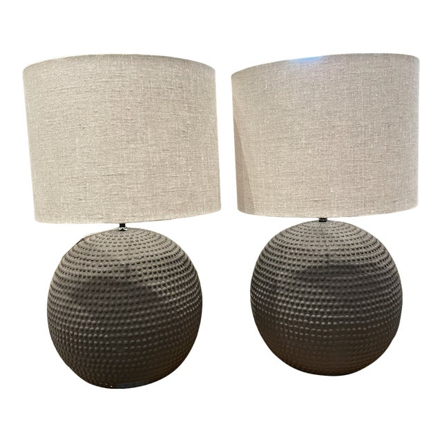 Textural Ceramic Lamps in Black Clay For Sale