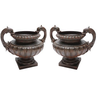 19th Century Val d'Osne French Cast Iron Garden Urns - a Pair For Sale