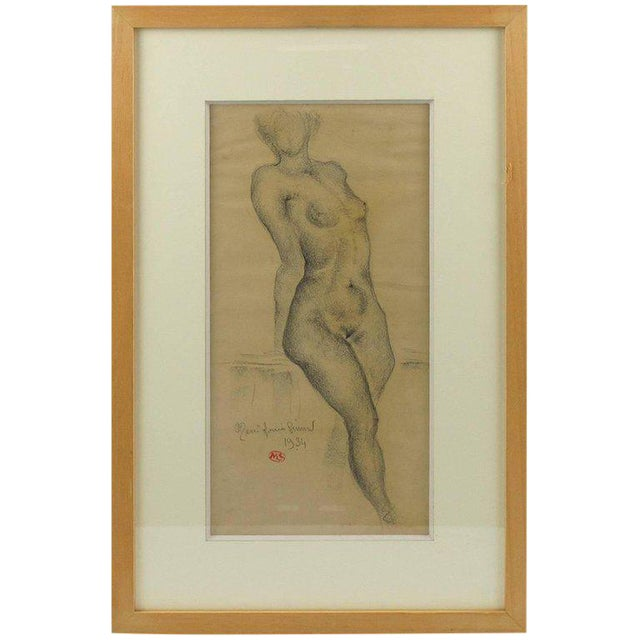 1934 French Marie Louise Simard Nude Female Study Pencil Drawing - Image 1 of 10
