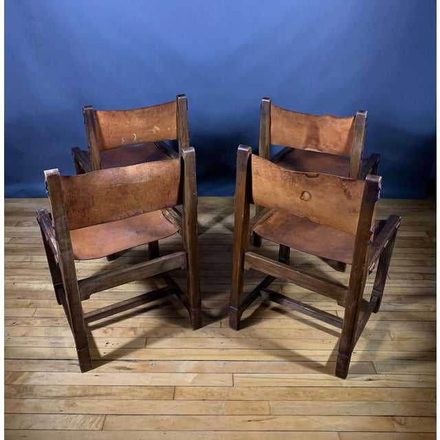 French Country Four French 1940s Saddle Leather & Oak Dining Chairs For Sale - Image 3 of 13