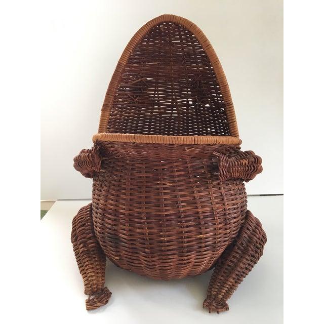Large-Vintage Natural Wicker Frog Basket For Sale - Image 4 of 12