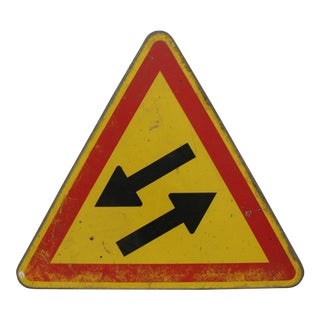 20th Century Industrial Yellow Metal Stret Sign With Arrows