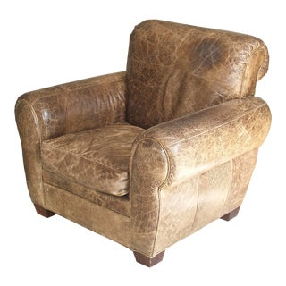 Monterrey Mushroom Distressed Cowhide Club Chair For Sale