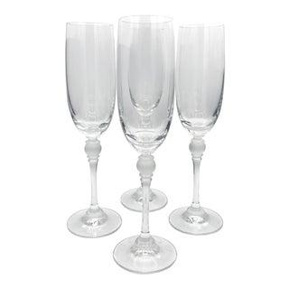 1960s Vintage Gorham Golden Rondelle Frosted Champagne Flutes - Set of 4 For Sale