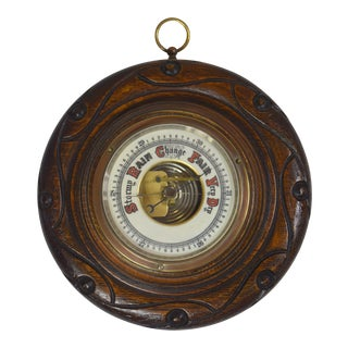 Vintage English Carved Oak Wall Barometer