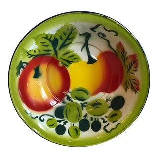 Vintage Mid Century Enamel Vegetable Bowl For Sale