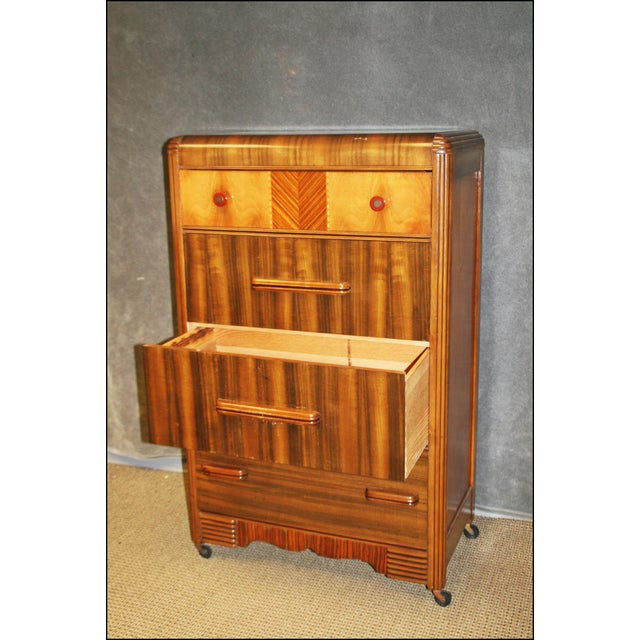 Art Deco Waterfall Dresser With Bakelite Drawer Pulls For Sale - Image 4 of 11