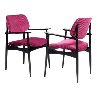 Italian Black Lacquer Armchairs With Ribbed Velvet Upholstery - a Pair For Sale