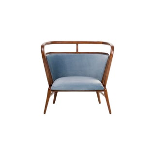 Contemporary Empire Collection Mid Century Modern Style Scandinavian Walnut Lounge Chair For Sale