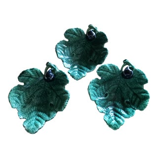 Majorca Green Leaf Plates - Set of 3 For Sale