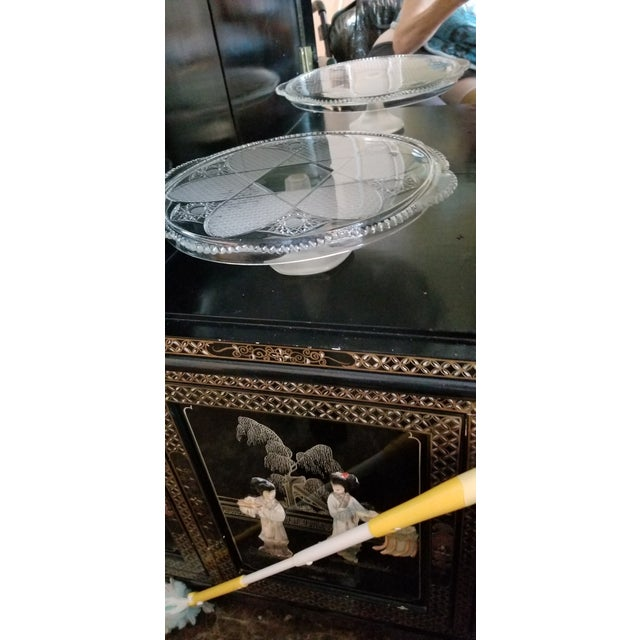 Vintage Frosted & Cut Glass Stemmed Cake Plate For Sale In Miami - Image 6 of 10