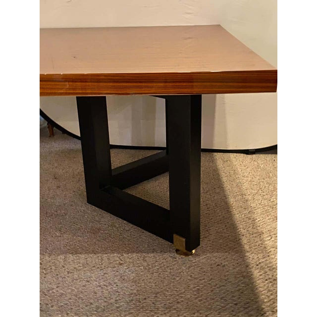 Lorin Marsh Dining Conference Table Smorgasbord Lacquered Zebra-Wood and Brass For Sale - Image 10 of 12