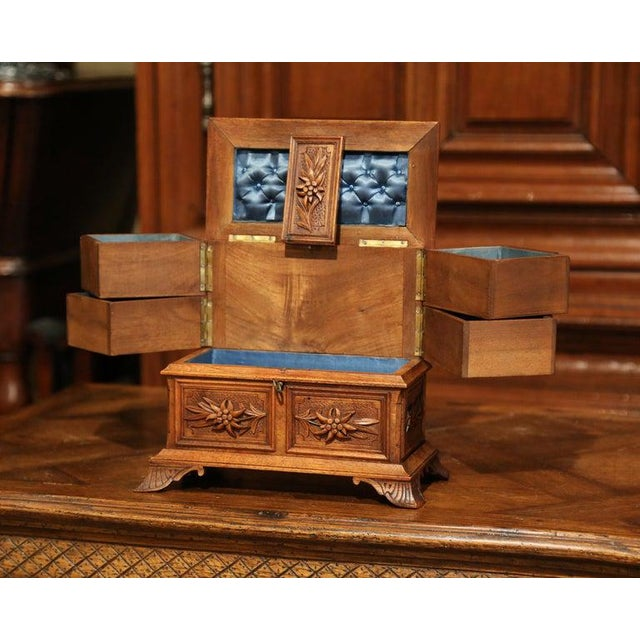19th Century French Black Forest Carved Walnut Jewelry Box For Sale - Image 9 of 13