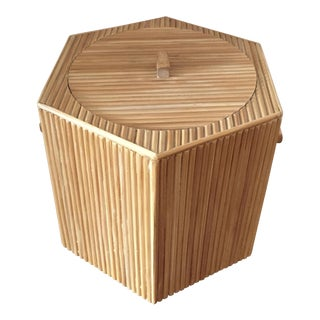 Mid-Century Large Reed Bamboo Ice Bucket For Sale