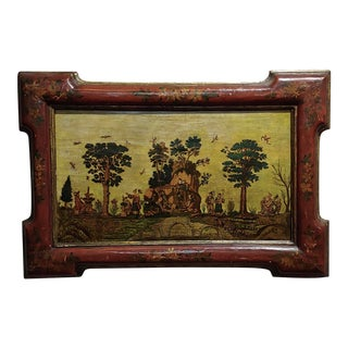 17th Century Chinoiserie Oil Painting - Garden Scene For Sale