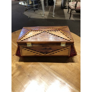 Hand Made Tramp Art Hinged Box With Mirror Preview