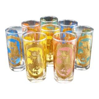 Vintage Colorful Gold Embossed Drinking Glasses, Set of 8 For Sale