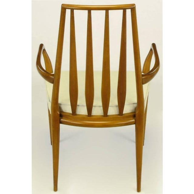 Pair of Bert England Sculpted Walnut and Off-White Linen Slatback Armchairs - Image 4 of 7